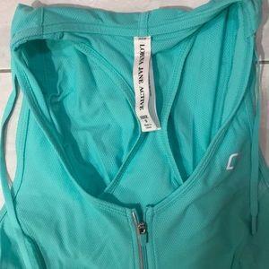 Lorna Jane turquoise gym top, tank with hood, S